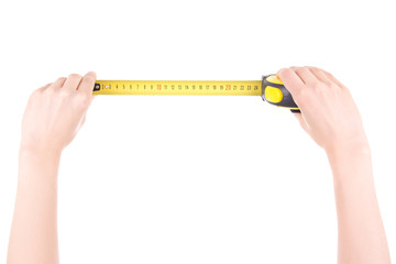 woman hands with measuring tape isolated on white