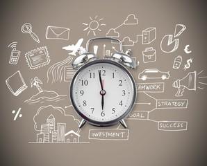 Composite image of alarm clock