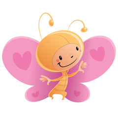 Cartoon happy smiling kid wearing funny carnival butterfly costu