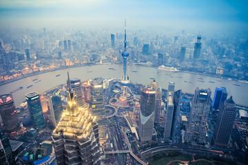 Aluminium Prints Shanghai dusk scene in shanghai