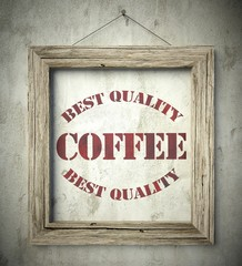 Best quality coffee emblem in old wooden frame