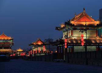 night scene at xian city wall,china  Fototapete