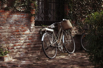 Vintage style bike with a wicker basket