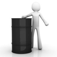 Cartoon Figur mit Ölfass