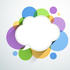White paper cloud over color bubbles.