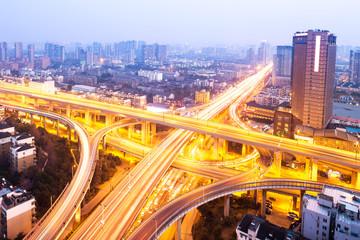 city interchange overpass at night