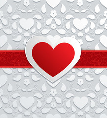 Valentines day card with paper heart. Vector background