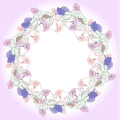 Wreath with pink and blue bindweed