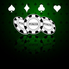 Poker green background with cheaps and card symbols