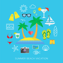 Summer vacation flat vector icon set