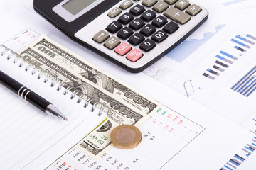Financial Charts and Graphs on Business Table