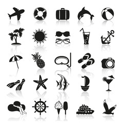 summer icons in black and white