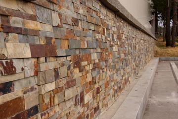 granite brick wall perspective