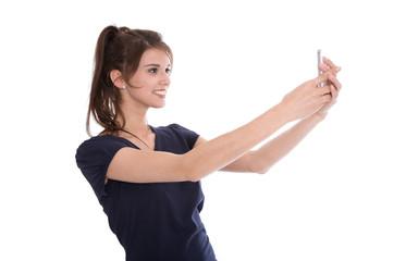 Weiblicher Teenager freigestellt mit Smartphone