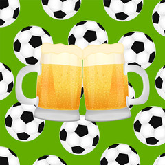 two mugs of beer on background of soccer balls