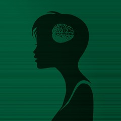 woman silhouette with brain inside