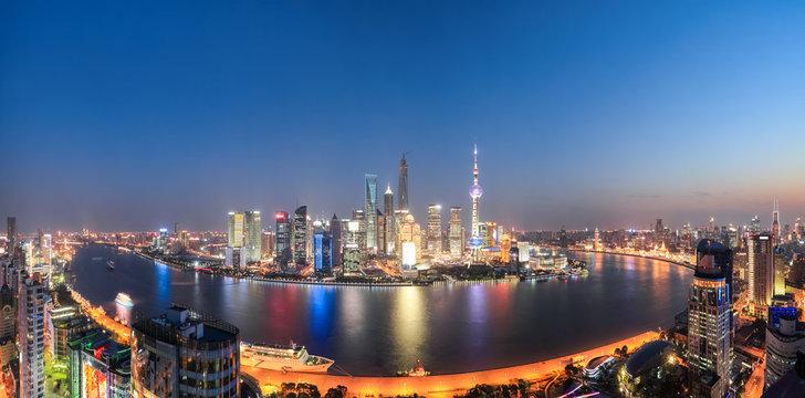 shanghai night view panoramic