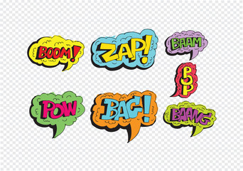 multicolored comic sound Effects  Speech Bubble Cartoon