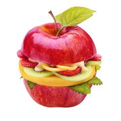 Creative healthy juicy apple burger