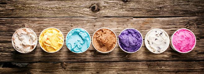 Assorted flavors of gourmet Italian ice cream