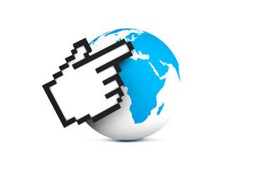 Hand Cursor Pointing Earth Map Globe