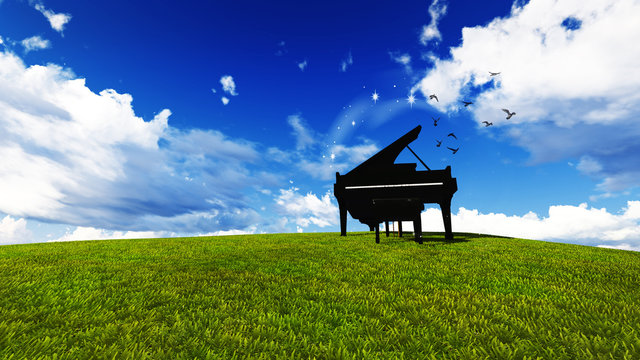 piano in a meadow