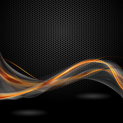 Fototapeta pomaraczowo szare wstęgi na czarnym tle obraz