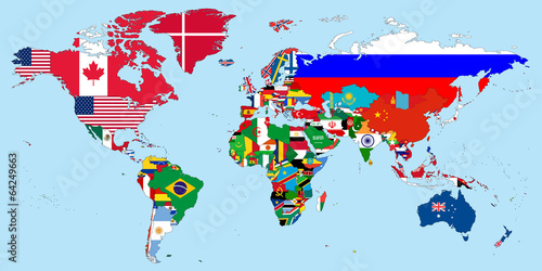 Illustration of the countries national flags on the world map stock illustration of the countries national flags on the world map gumiabroncs Choice Image