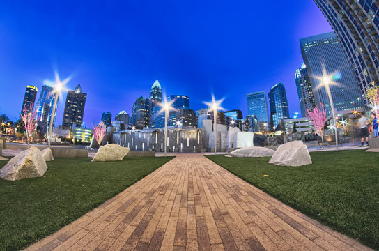 charlotte skyline at romare bearden park and bbt knights basebal