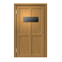 Realistic Wood Door with Blanc Black Plate .
