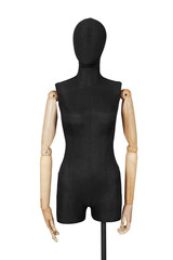 tailor mannequin in black on a white background