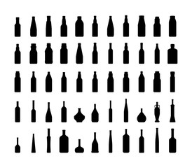 Bottle collection silhouette. Vector EPS10.