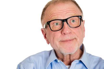 Headshot Daydreaming senior man isolated on white background