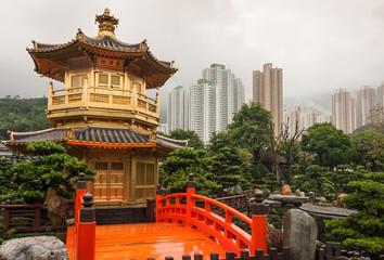Printed roller blinds Hong-Kong Golden Pavilion in Nan Lian Garden, Hong Kong