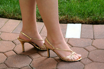Gold Slingback Heels