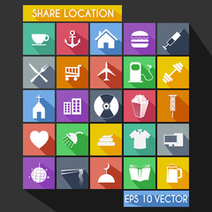 Shared Location Flat Icon Long Shadow