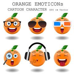 Orange emoticon cartoon character eps 10 vector