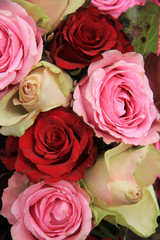 Wedding flowers in pink and red