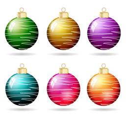 Weihnachtskugeln metallic mit Muster