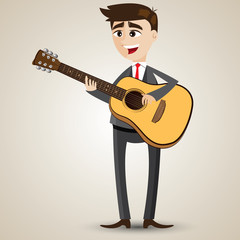 cartoon businessman playing acoustic guitar
