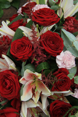 Lilies and roses in bridal flowers