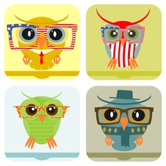 Icon or banner with hipster owl