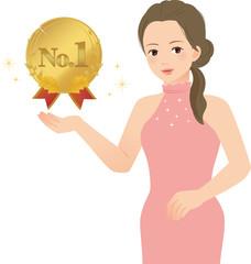 No.1のメダルを掲げる女性