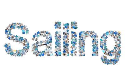 Wort Segeln in einer Collage