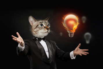 Business man cat head bulb idea