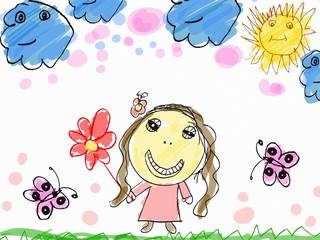 child's drawing a happy girl with flower