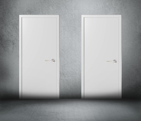 Two doors gray background