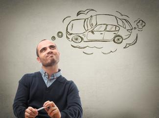 Man dreaming car