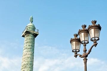Napoleon's column and street lamp in Paris