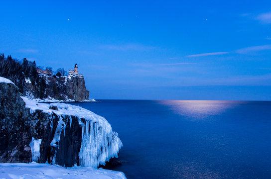 Split Rock Lighthouse Under the Moon